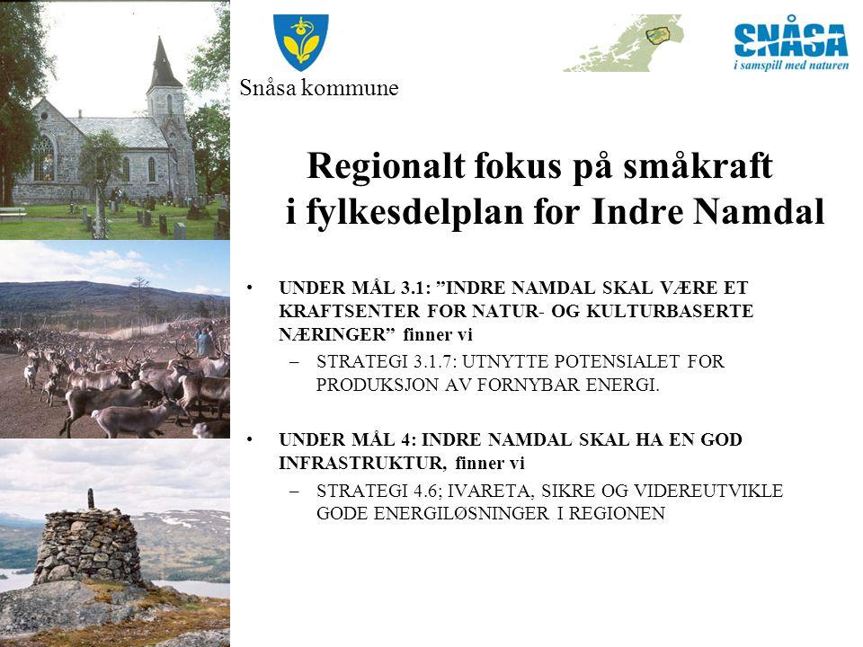 Snåsa kommune Regionalt fokus på småkraft i fylkesdelplan for Indre Namdal UNDER MÅL 3.1: INDRE NAMDAL SKAL VÆRE ET KRAFTSENTER FOR NATUR- OG KULTURBASERTE NÆRINGER finner vi –STRATEGI 3.1.7: UTNYTTE POTENSIALET FOR PRODUKSJON AV FORNYBAR ENERGI.