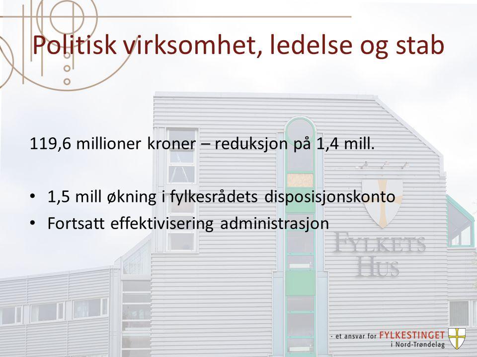 Politisk virksomhet, ledelse og stab 119,6 millioner kroner – reduksjon på 1,4 mill.