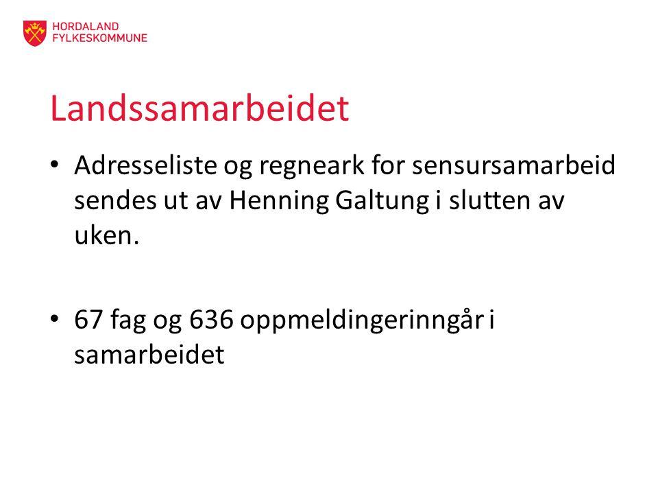 Landssamarbeidet Adresseliste og regneark for sensursamarbeid sendes ut av Henning Galtung i slutten av uken. 67 fag og 636 oppmeldingerinngår i samar