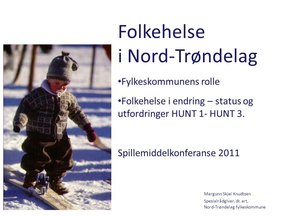 Knudtsen Folkehelse i Nord-Trøndelag Fylkeskommunens rolle Folkehelse i endring – status og utfordringer HUNT 1- HUNT 3. Spillemiddelkonferanse 2011 M
