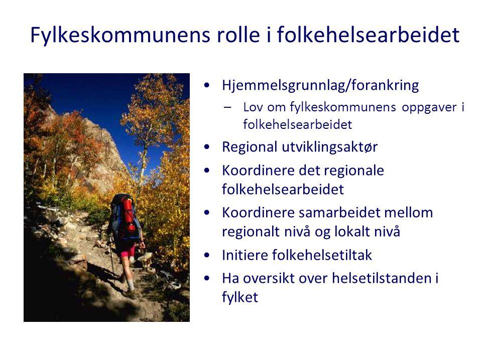 Hjemmelsgrunnlag/forankring –Lov om fylkeskommunens oppgaver i folkehelsearbeidet Regional utviklingsaktør Koordinere det regionale folkehelsearbeidet