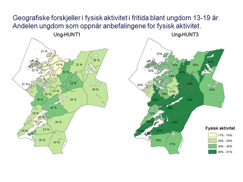 Geografiske forskjeller i fysisk aktivitet i fritida blant ungdom 13-19 år. Andelen ungdom som oppnår anbefalingene for fysisk aktivitet.