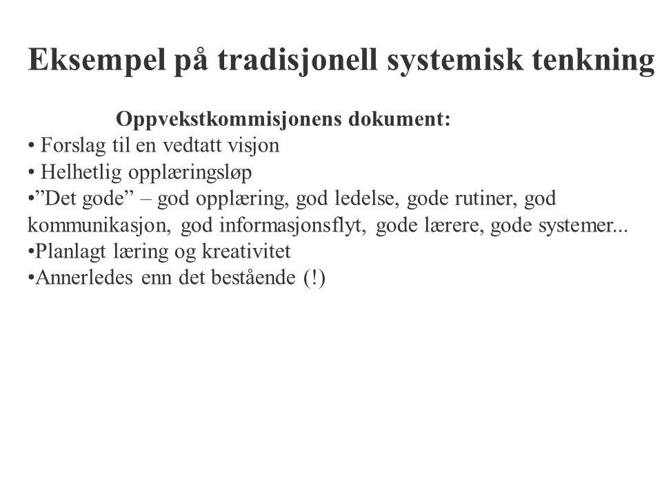 """Eksempel på tradisjonell systemisk tenkning Oppvekstkommisjonens dokument: Forslag til en vedtatt visjon Helhetlig opplæringsløp """"Det gode"""" – god oppl"""