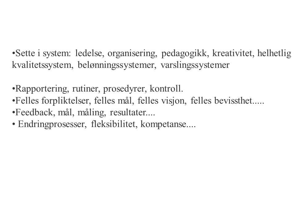 Sette i system: ledelse, organisering, pedagogikk, kreativitet, helhetlig kvalitetssystem, belønningssystemer, varslingssystemer Rapportering, rutiner