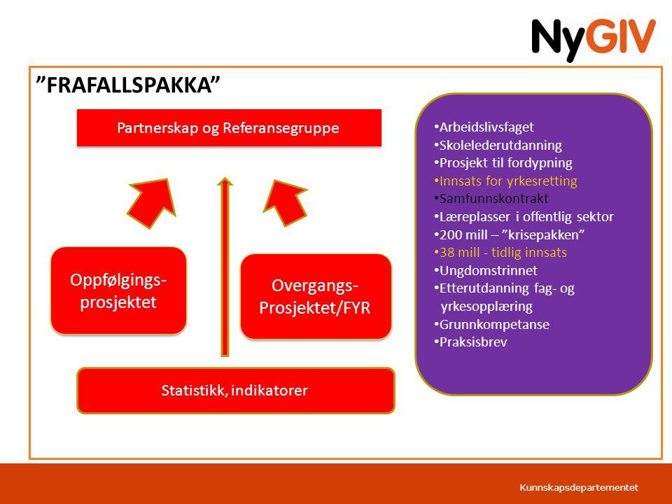 Kunnskapsdepartementet Norsk mal: Tabell Overgangsprosjektet 7 Overgangsprosjektet har som mål å skape permanente samarbeidsrelasjoner mellom kommunene og fylkeskommunene om de svakest presterende elevene.