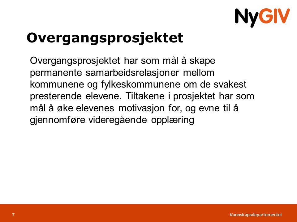 Kunnskapsdepartementet Norsk mal: Tabell Overgangsprosjektet 7 Overgangsprosjektet har som mål å skape permanente samarbeidsrelasjoner mellom kommunen