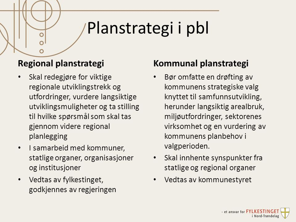 Planstrategi i pbl Regional planstrategi Skal redegjøre for viktige regionale utviklingstrekk og utfordringer, vurdere langsiktige utviklingsmulighete