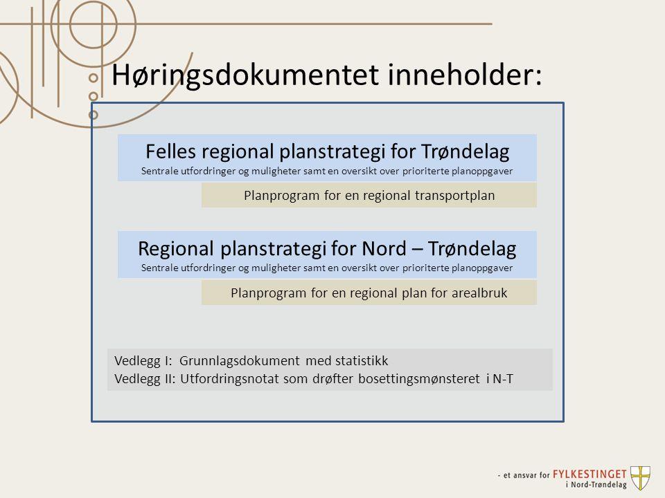 Felles regional planstrategi for Trøndelag Sentrale utfordringer og muligheter samt en oversikt over prioriterte planoppgaver Regional planstrategi fo