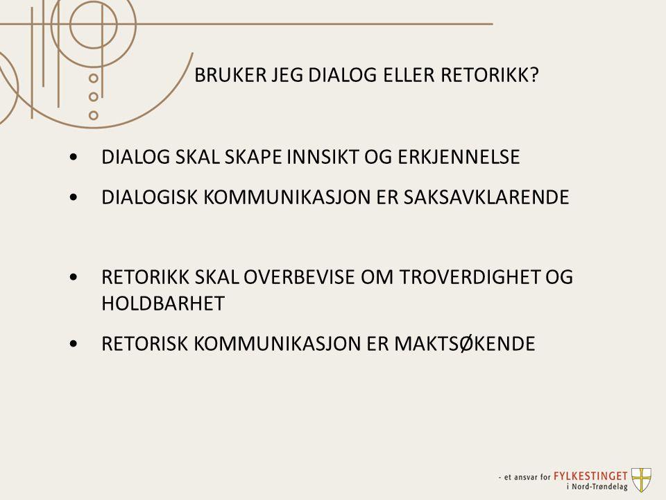 BRUKER JEG DIALOG ELLER RETORIKK.