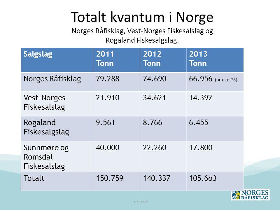 Totalt kvantum i Norge Norges Råfisklag, Vest-Norges Fiskesalslag og Rogaland Fiskesalgslag. Salgslag2011 Tonn 2012 Tonn 2013 Tonn Norges Råfisklag79.