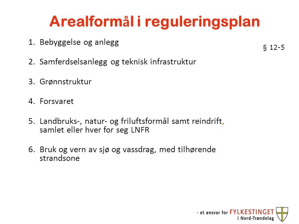 Arealform å l i reguleringsplan 1.Bebyggelse og anlegg 2.Samferdselsanlegg og teknisk infrastruktur 3.Grønnstruktur 4.Forsvaret 5.Landbruks-, natur- o