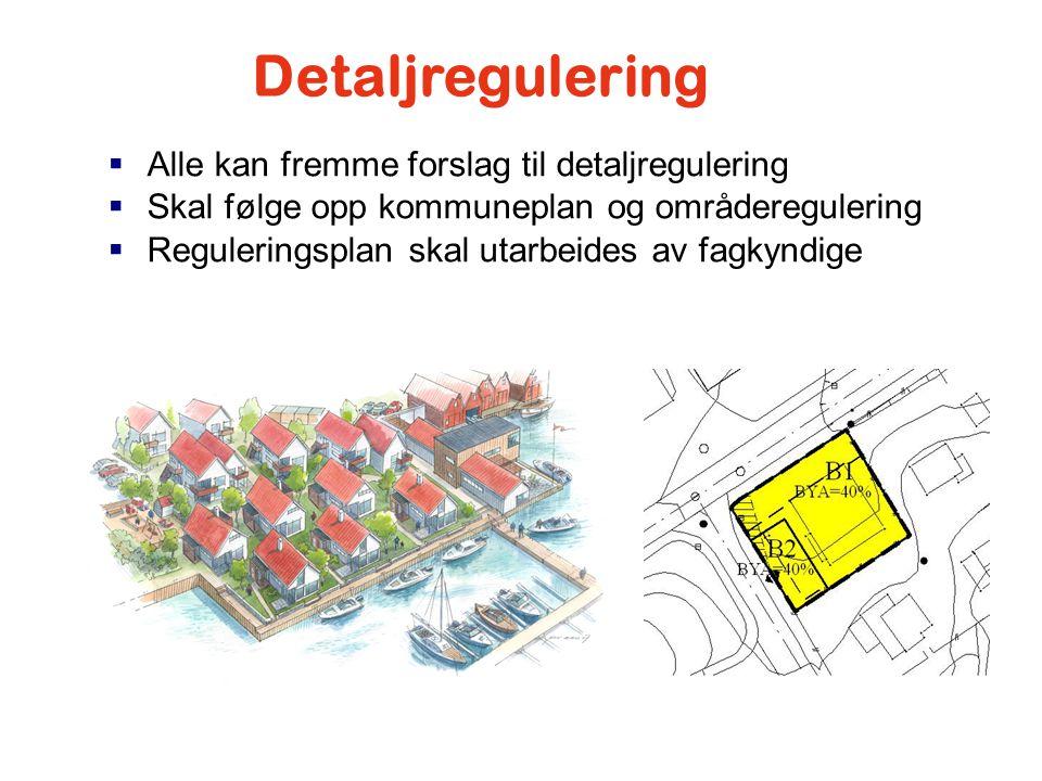  Alle kan fremme forslag til detaljregulering  Skal følge opp kommuneplan og områderegulering  Reguleringsplan skal utarbeides av fagkyndige