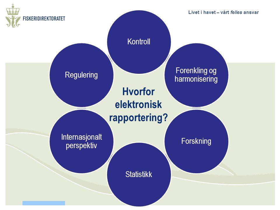 Livet i havet – vårt felles ansvar Kontroll Forenkling og harmonisering ForskningStatistikk Internasjonalt perspektiv Regulering Hvorfor elektronisk rapportering