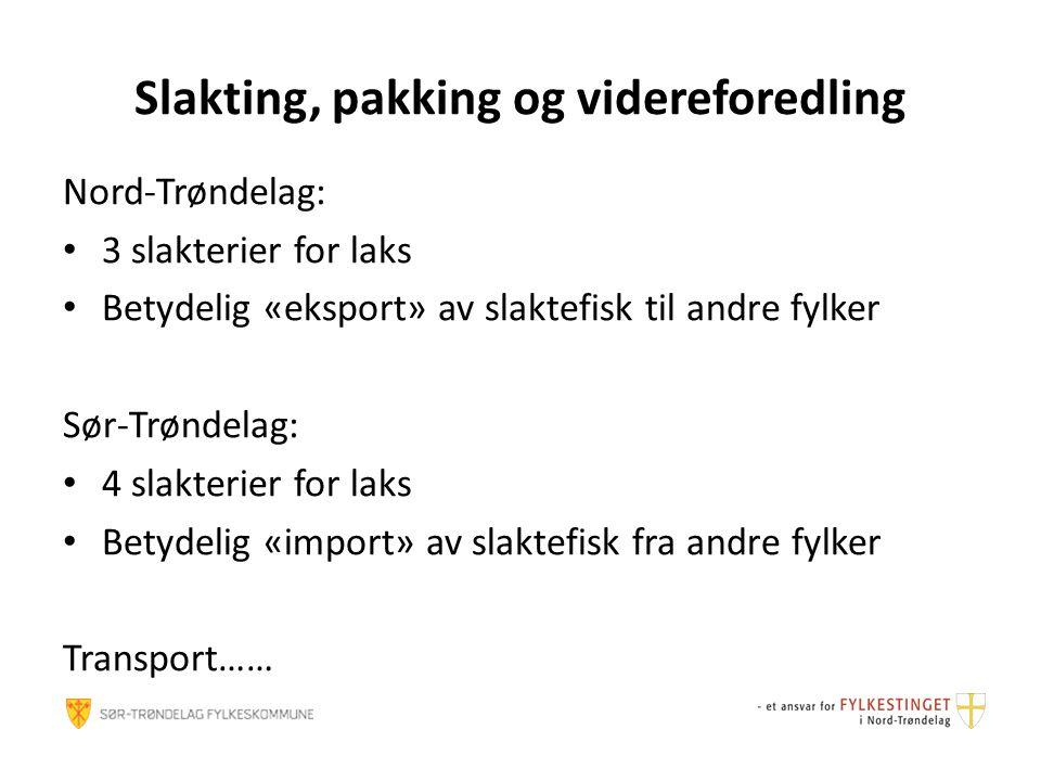Slakting, pakking og videreforedling Nord-Trøndelag: 3 slakterier for laks Betydelig «eksport» av slaktefisk til andre fylker Sør-Trøndelag: 4 slakter