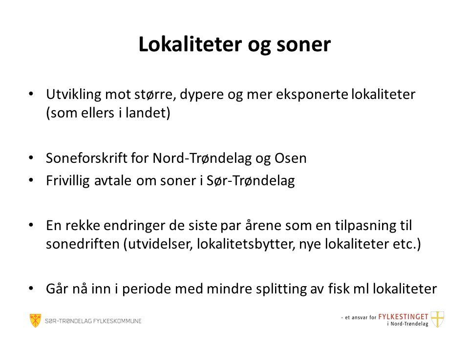 Lokaliteter og soner Utvikling mot større, dypere og mer eksponerte lokaliteter (som ellers i landet) Soneforskrift for Nord-Trøndelag og Osen Frivill