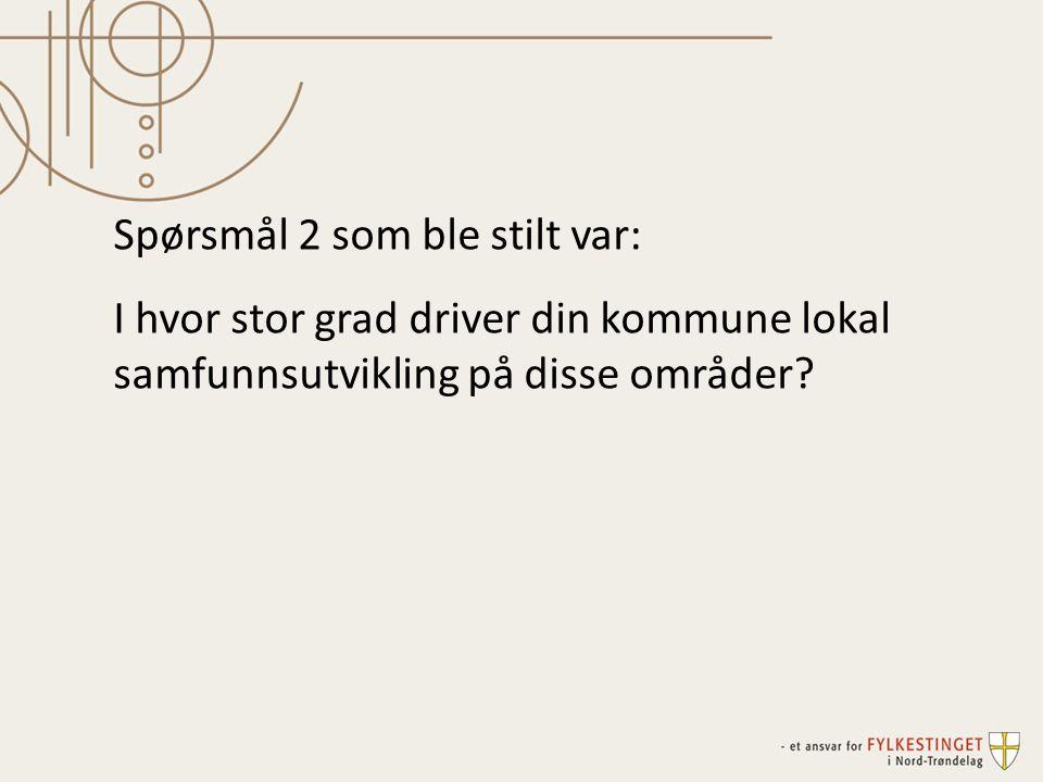 Spørsmål 2 som ble stilt var: I hvor stor grad driver din kommune lokal samfunnsutvikling på disse områder