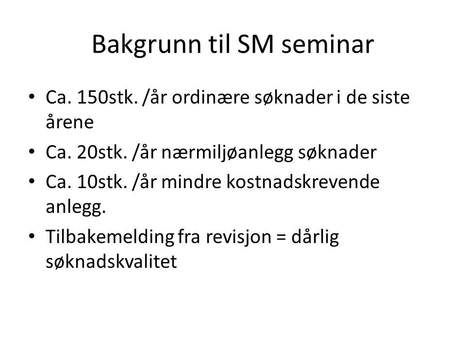 Bakgrunn til SM seminar Ca.150stk. /år ordinære søknader i de siste årene Ca.