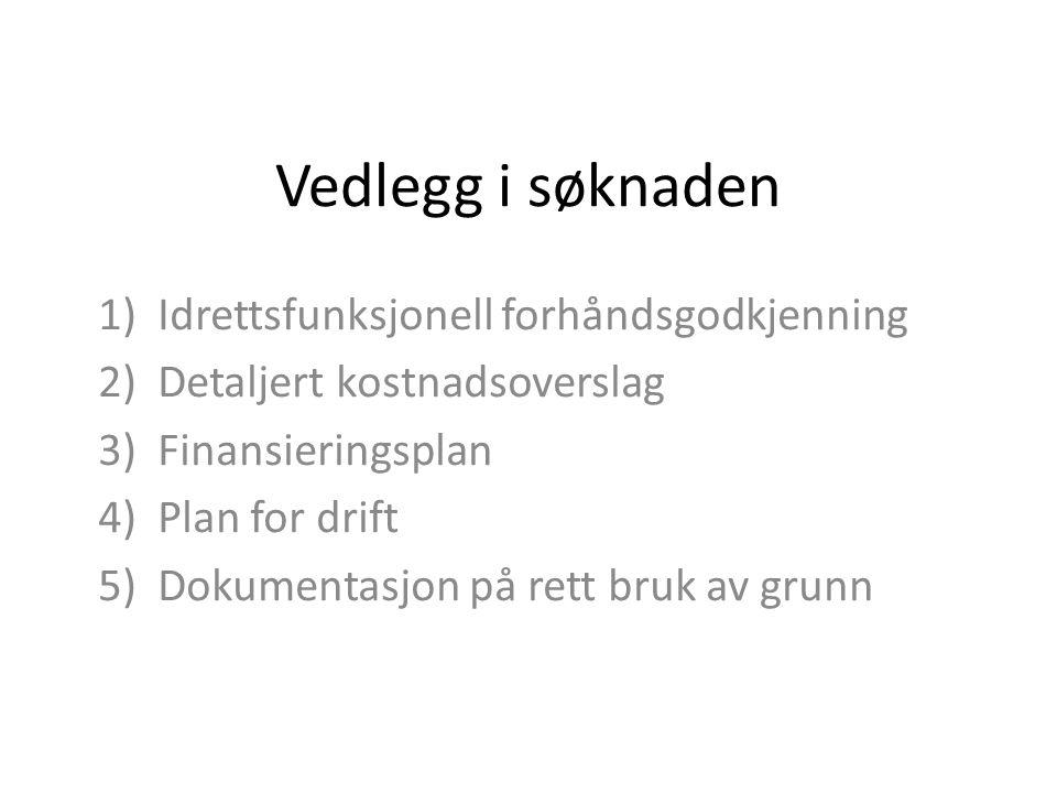 Vedlegg i søknaden 1)Idrettsfunksjonell forhåndsgodkjenning 2)Detaljert kostnadsoverslag 3)Finansieringsplan 4)Plan for drift 5)Dokumentasjon på rett bruk av grunn