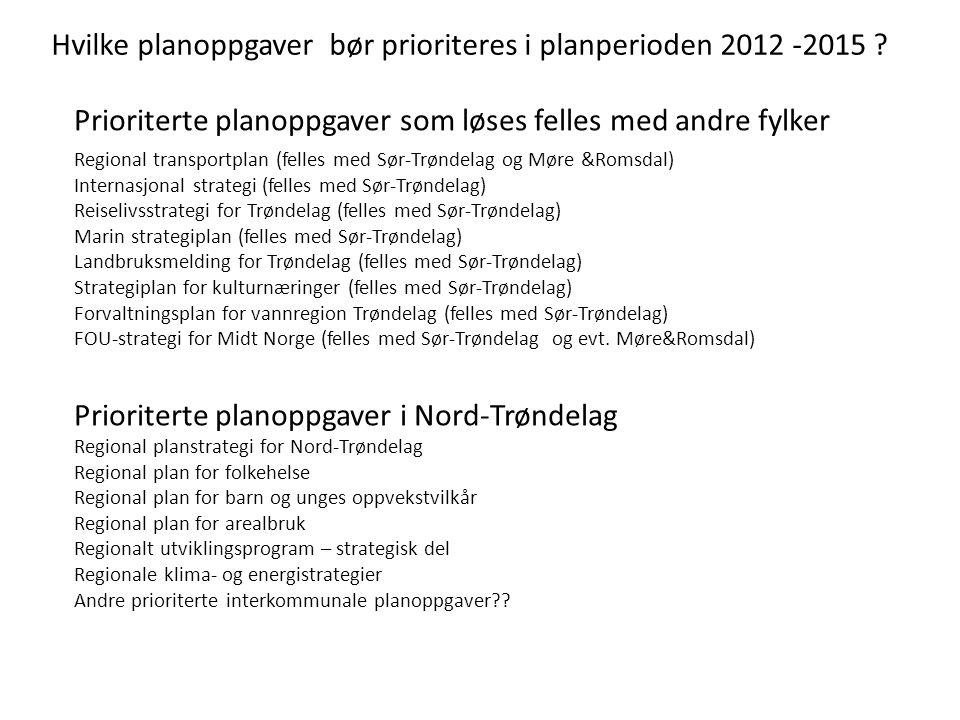 Hvilke planoppgaver bør prioriteres i planperioden 2012 -2015 ? Prioriterte planoppgaver som løses felles med andre fylker Prioriterte planoppgaver i