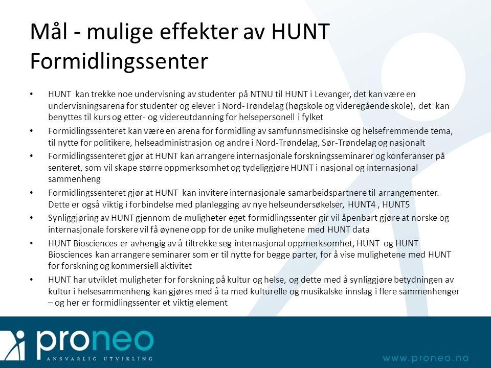 Mål - mulige effekter av HUNT Formidlingssenter HUNT kan trekke noe undervisning av studenter på NTNU til HUNT i Levanger, det kan være en undervisnin