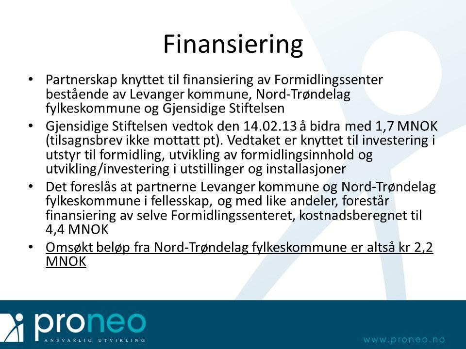 Finansiering Partnerskap knyttet til finansiering av Formidlingssenter bestående av Levanger kommune, Nord-Trøndelag fylkeskommune og Gjensidige Stiftelsen Gjensidige Stiftelsen vedtok den 14.02.13 å bidra med 1,7 MNOK (tilsagnsbrev ikke mottatt pt).