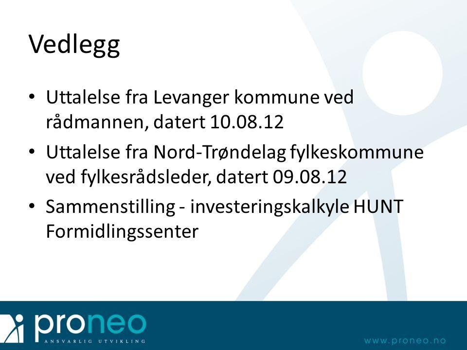 Vedlegg Uttalelse fra Levanger kommune ved rådmannen, datert 10.08.12 Uttalelse fra Nord-Trøndelag fylkeskommune ved fylkesrådsleder, datert 09.08.12