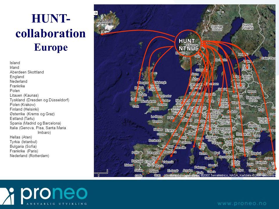 HUNT- collaboration Europe Island Irland Aberdeen Skottland England Nederland Frankrike Polen Litauen (Kaunas) Tyskland (Dresden og Düsseldorf) Polen