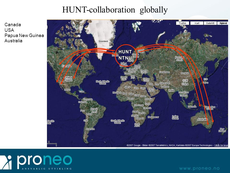 HUNT-collaboration globally Canada USA Papua New Guinea Australia