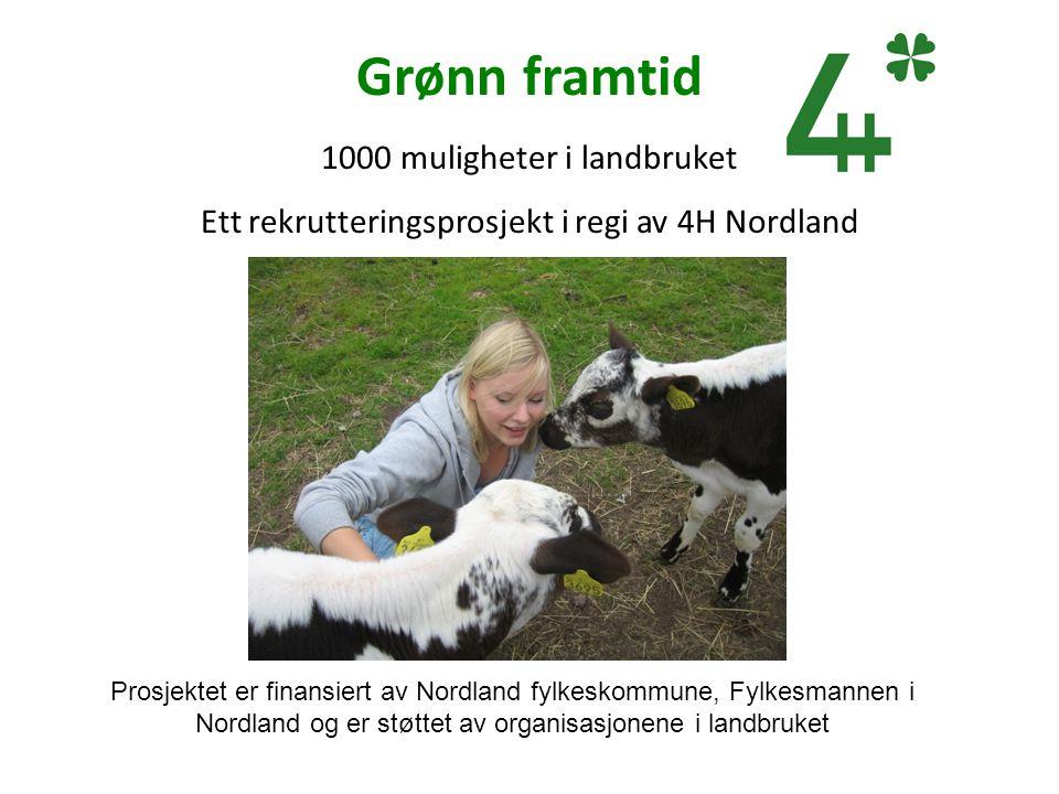 Grønn framtid 1000 muligheter i landbruket Ett rekrutteringsprosjekt i regi av 4H Nordland Prosjektet er finansiert av Nordland fylkeskommune, Fylkesm