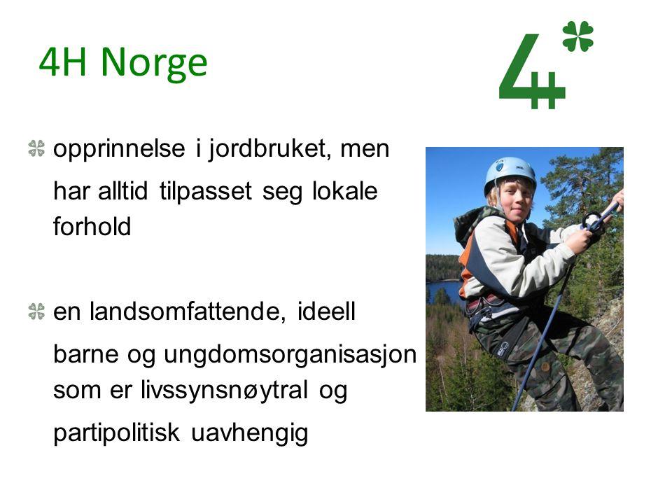 4H Norge opprinnelse i jordbruket, men har alltid tilpasset seg lokale forhold en landsomfattende, ideell barne og ungdomsorganisasjon som er livssyns