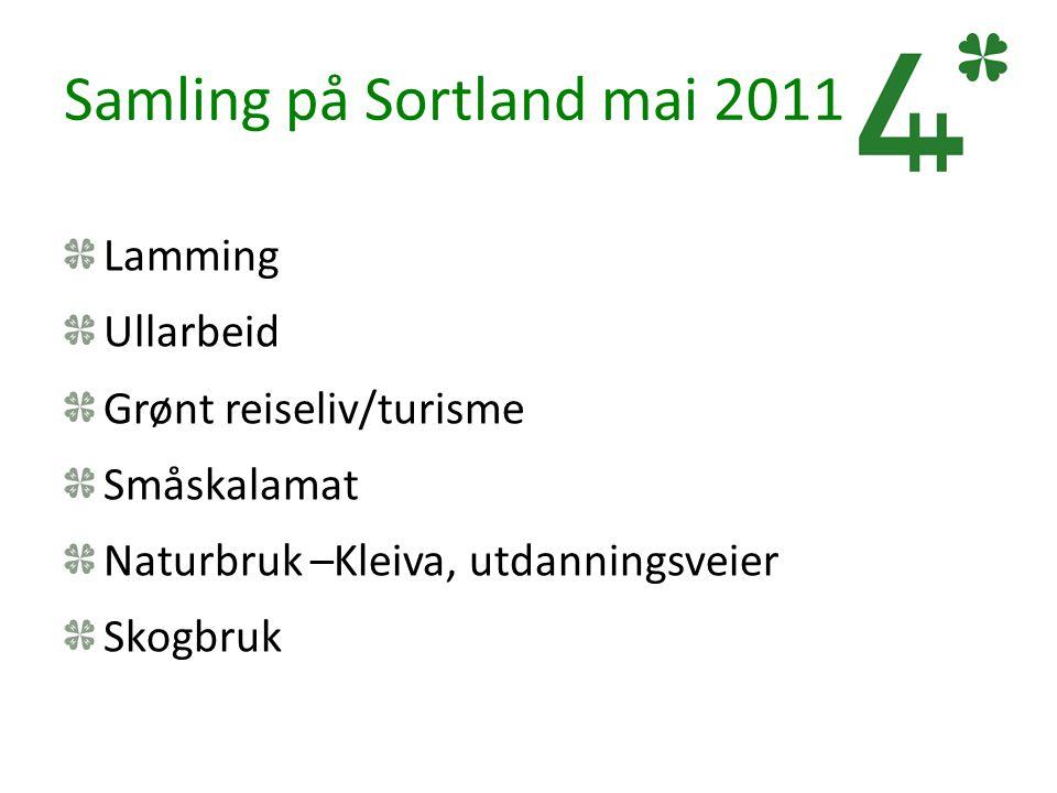 Samling på Sortland mai 2011 Lamming Ullarbeid Grønt reiseliv/turisme Småskalamat Naturbruk –Kleiva, utdanningsveier Skogbruk