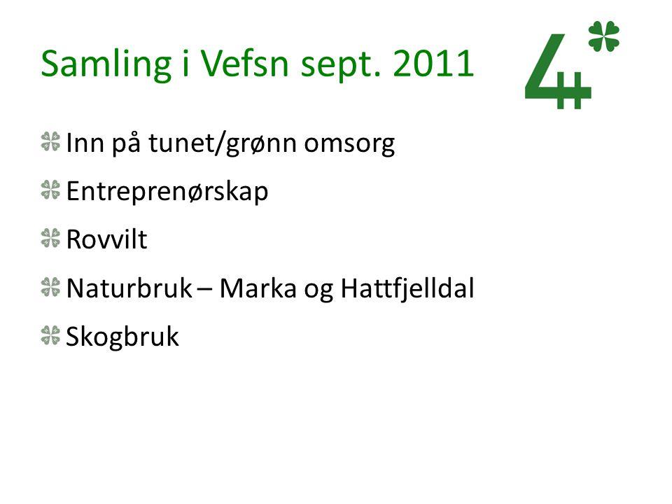 Samling i Vefsn sept. 2011 Inn på tunet/grønn omsorg Entreprenørskap Rovvilt Naturbruk – Marka og Hattfjelldal Skogbruk