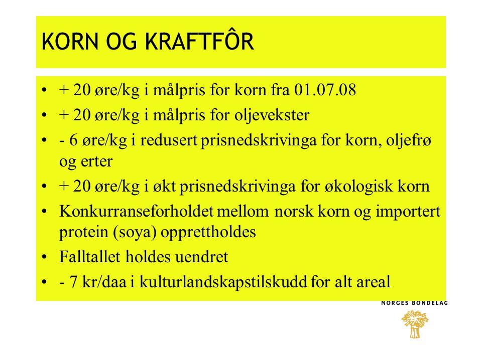 KORN OG KRAFTFÔR + 20 øre/kg i målpris for korn fra 01.07.08 + 20 øre/kg i målpris for oljevekster - 6 øre/kg i redusert prisnedskrivinga for korn, ol