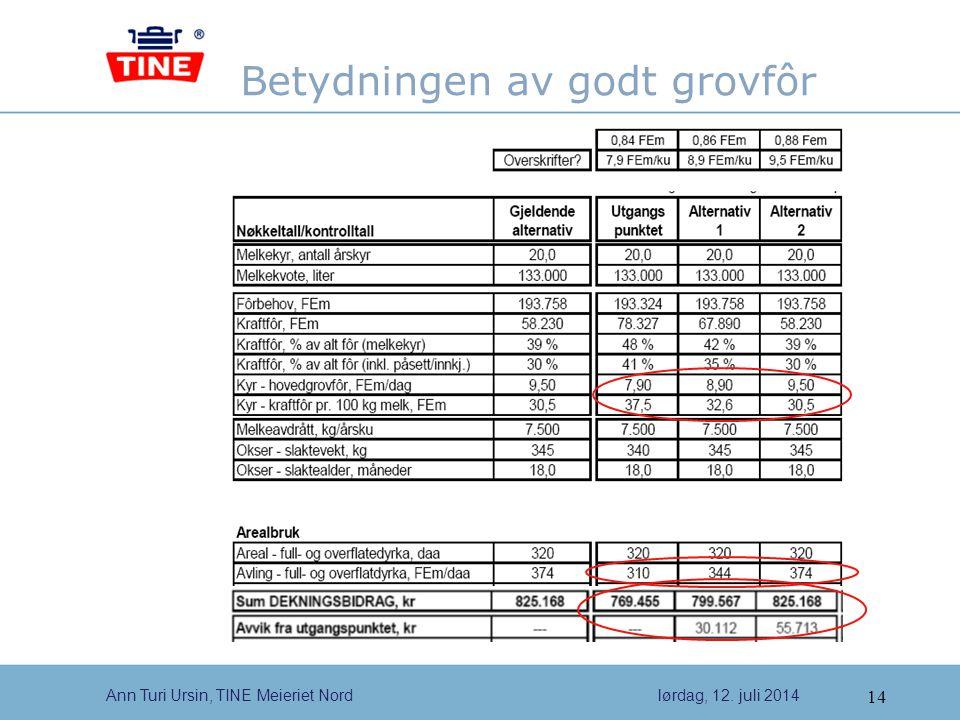 14 Ann Turi Ursin, TINE Meieriet Nordlørdag, 12. juli 2014 Betydningen av godt grovfôr
