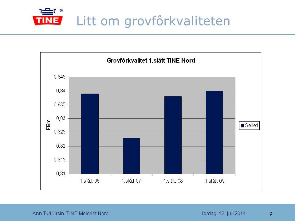9 Ann Turi Ursin, TINE Meieriet Nordlørdag, 12. juli 2014 Litt om grovfôrkvaliteten