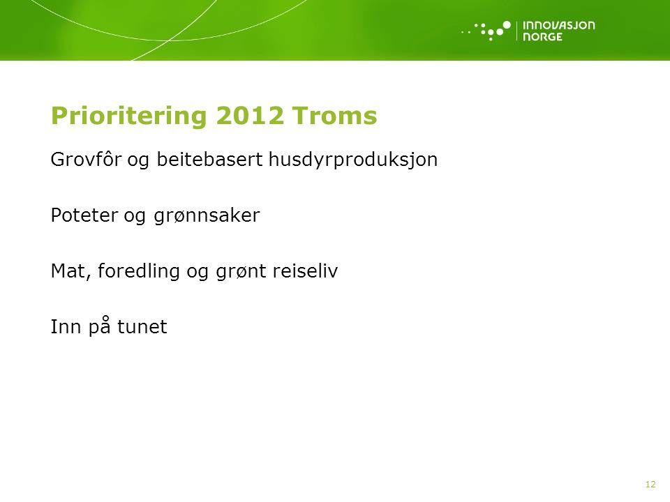 12 Prioritering 2012 Troms Grovfôr og beitebasert husdyrproduksjon Poteter og grønnsaker Mat, foredling og grønt reiseliv Inn på tunet