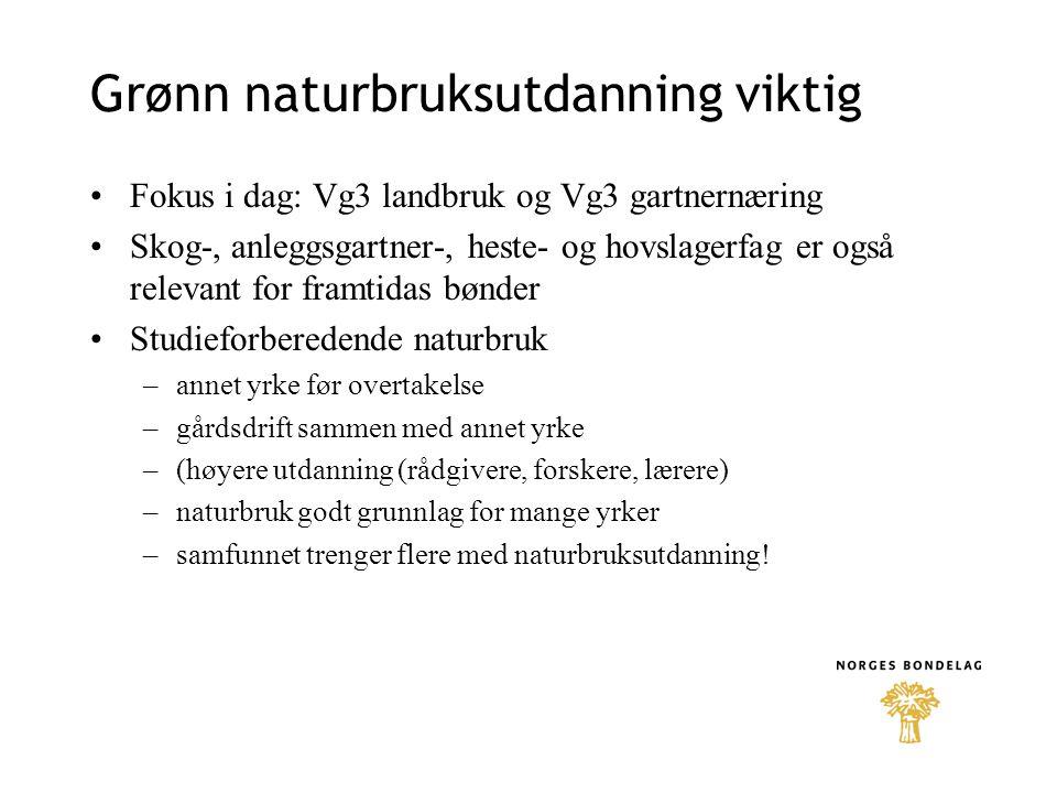 Grønn naturbruksutdanning viktig Fokus i dag: Vg3 landbruk og Vg3 gartnernæring Skog-, anleggsgartner-, heste- og hovslagerfag er også relevant for fr