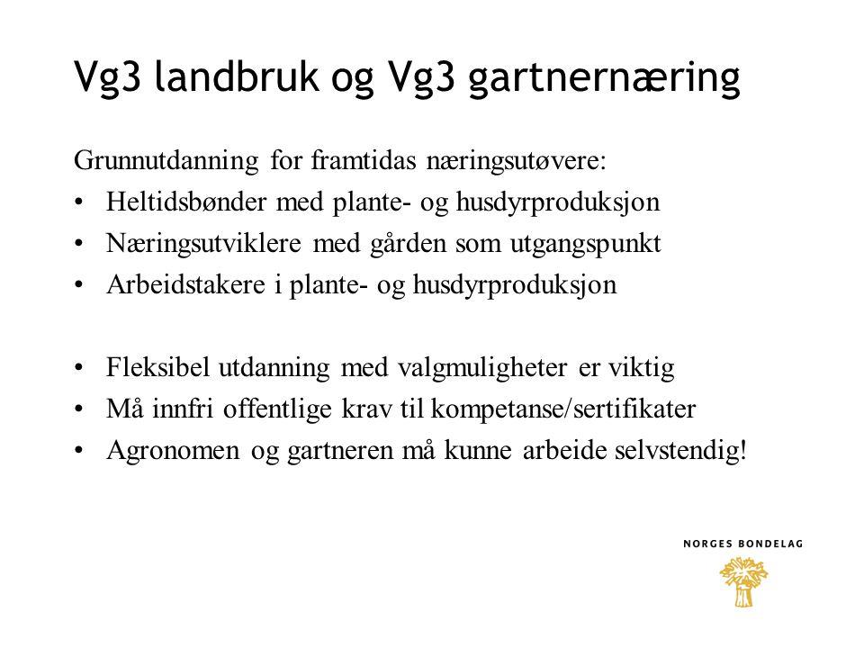 Vg3 landbruk og Vg3 gartnernæring Grunnutdanning for framtidas næringsutøvere: Heltidsbønder med plante- og husdyrproduksjon Næringsutviklere med gården som utgangspunkt Arbeidstakere i plante- og husdyrproduksjon Fleksibel utdanning med valgmuligheter er viktig Må innfri offentlige krav til kompetanse/sertifikater Agronomen og gartneren må kunne arbeide selvstendig!