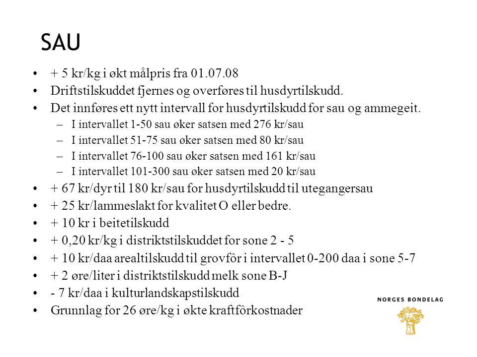 SAU + 5 kr/kg i økt målpris fra 01.07.08 Driftstilskuddet fjernes og overføres til husdyrtilskudd.