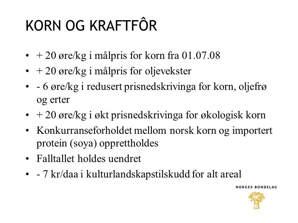 KORN OG KRAFTFÔR + 20 øre/kg i målpris for korn fra 01.07.08 + 20 øre/kg i målpris for oljevekster - 6 øre/kg i redusert prisnedskrivinga for korn, oljefrø og erter + 20 øre/kg i økt prisnedskrivinga for økologisk korn Konkurranseforholdet mellom norsk korn og importert protein (soya) opprettholdes Falltallet holdes uendret - 7 kr/daa i kulturlandskapstilskudd for alt areal