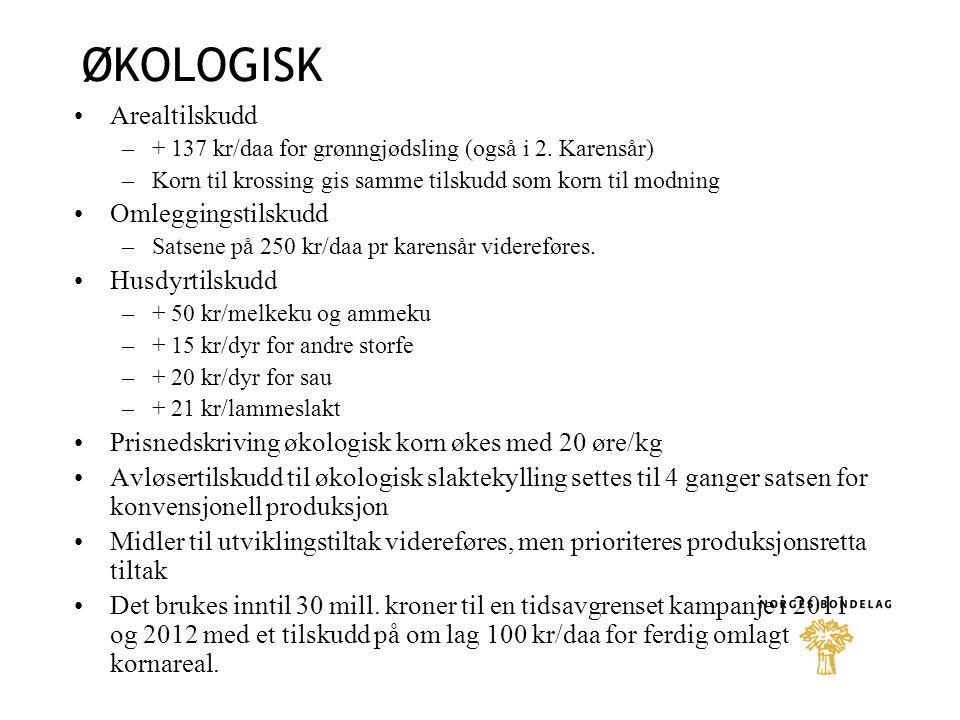 ØKOLOGISK Arealtilskudd –+ 137 kr/daa for grønngjødsling (også i 2.