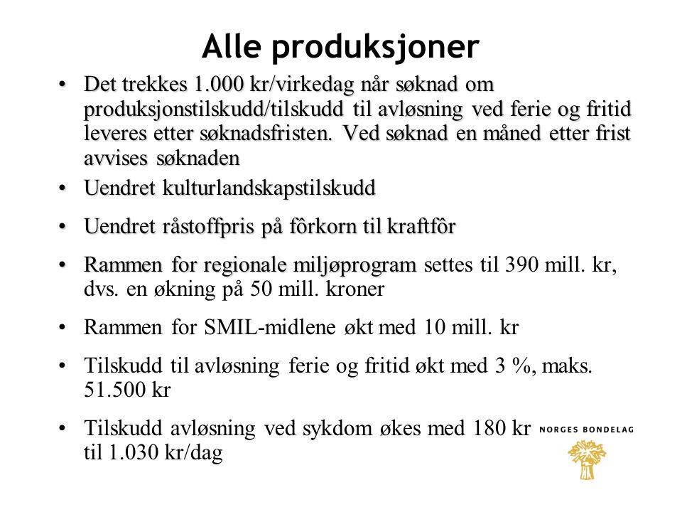 Alle produksjoner Det trekkes 1.000 kr/virkedag når søknad om produksjonstilskudd/tilskudd til avløsning ved ferie og fritid leveres etter søknadsfristen.