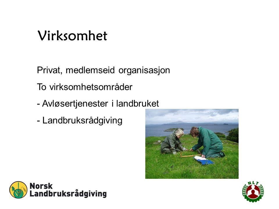 Virksomhet Privat, medlemseid organisasjon To virksomhetsområder - Avløsertjenester i landbruket - Landbruksrådgiving