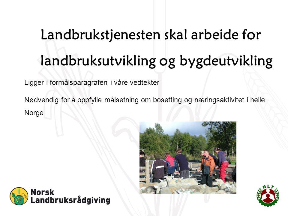 Landbrukstjenesten skal arbeide for landbruksutvikling og bygdeutvikling Ligger i formålsparagrafen i våre vedtekter Nødvendig for å oppfylle målsetning om bosetting og næringsaktivitet i heile Norge