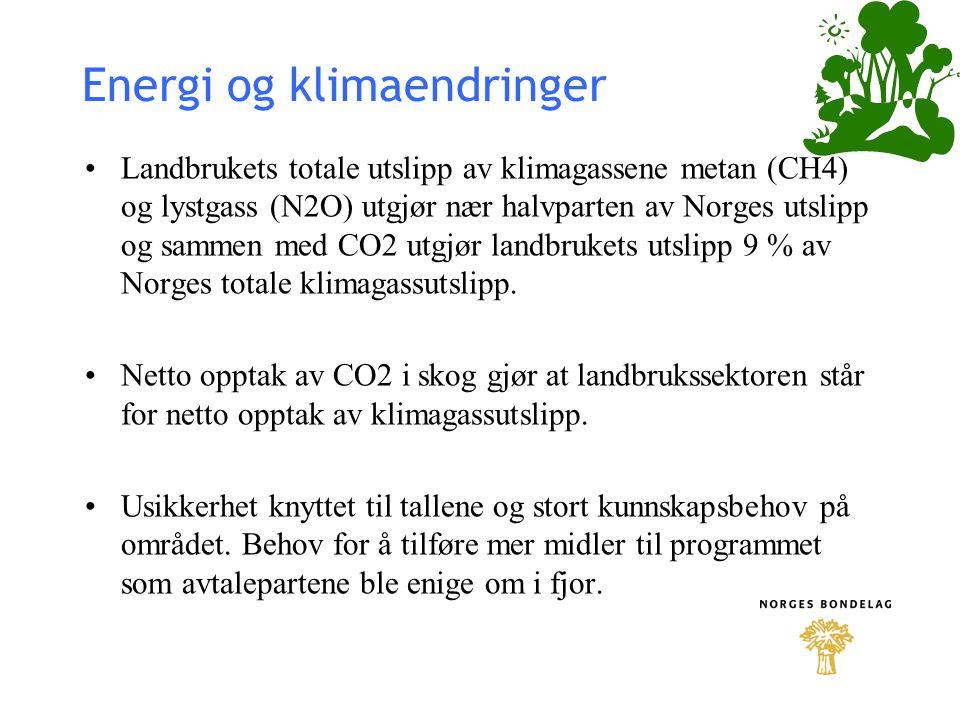 Energi og klimaendringer Landbrukets totale utslipp av klimagassene metan (CH4) og lystgass (N2O) utgjør nær halvparten av Norges utslipp og sammen me