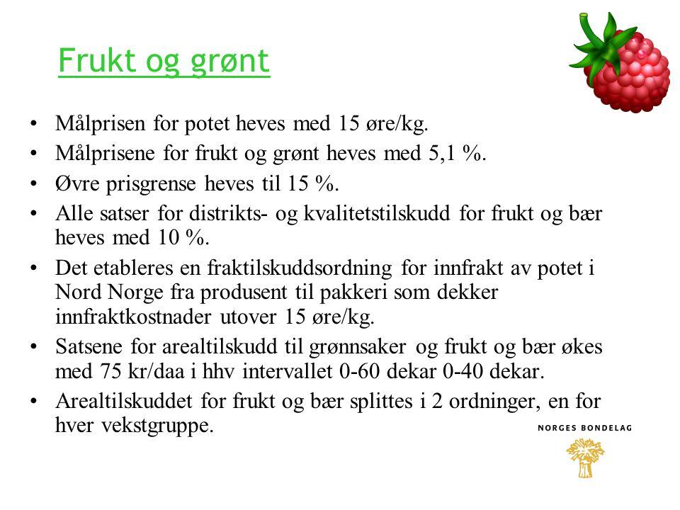 Frukt og grønt Målprisen for potet heves med 15 øre/kg. Målprisene for frukt og grønt heves med 5,1 %. Øvre prisgrense heves til 15 %. Alle satser for