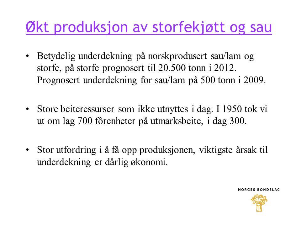 Økt produksjon av storfekjøtt og sau Betydelig underdekning på norskprodusert sau/lam og storfe, på storfe prognosert til 20.500 tonn i 2012. Prognose