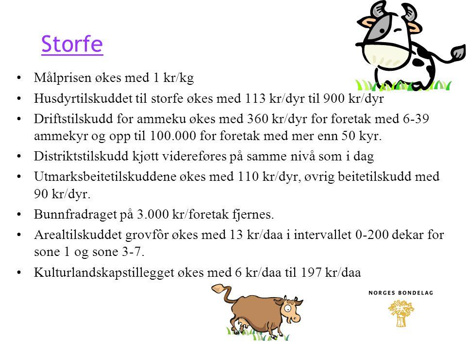 Storfe Målprisen økes med 1 kr/kg Husdyrtilskuddet til storfe økes med 113 kr/dyr til 900 kr/dyr Driftstilskudd for ammeku økes med 360 kr/dyr for for