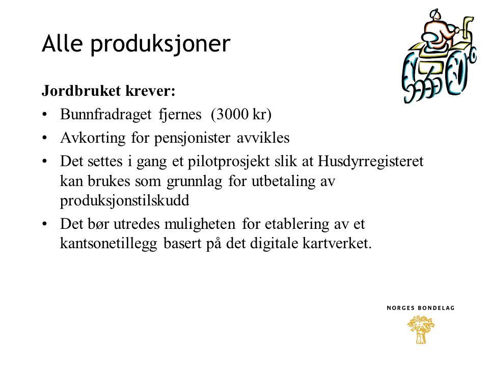 Alle produksjoner Jordbruket krever: Bunnfradraget fjernes (3000 kr) Avkorting for pensjonister avvikles Det settes i gang et pilotprosjekt slik at Hu