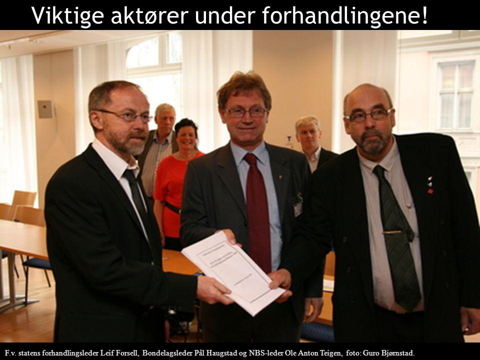 Viktige aktører under forhandlingene! F.v. statens forhandlingsleder Leif Forsell, Bondelagsleder Pål Haugstad og NBS-leder Ole Anton Teigen, foto: Gu